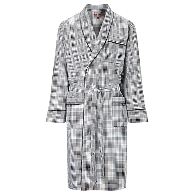 Otis Batterbee Prince of Wales Check Cotton Robe, Grey