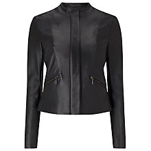 Buy Phase Eight Michelle Leather Jacket, Black Online at johnlewis.com