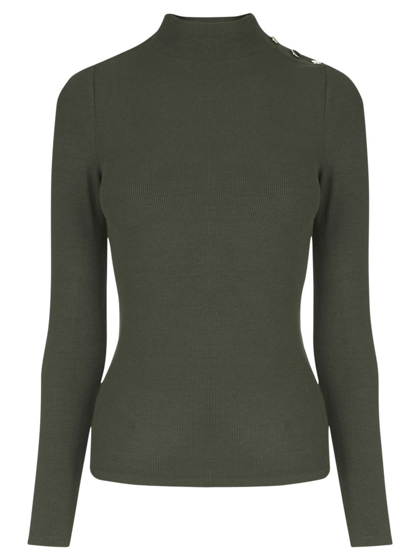 Oasis Rib Button Polo Neck Jumper at John Lewis & Partners