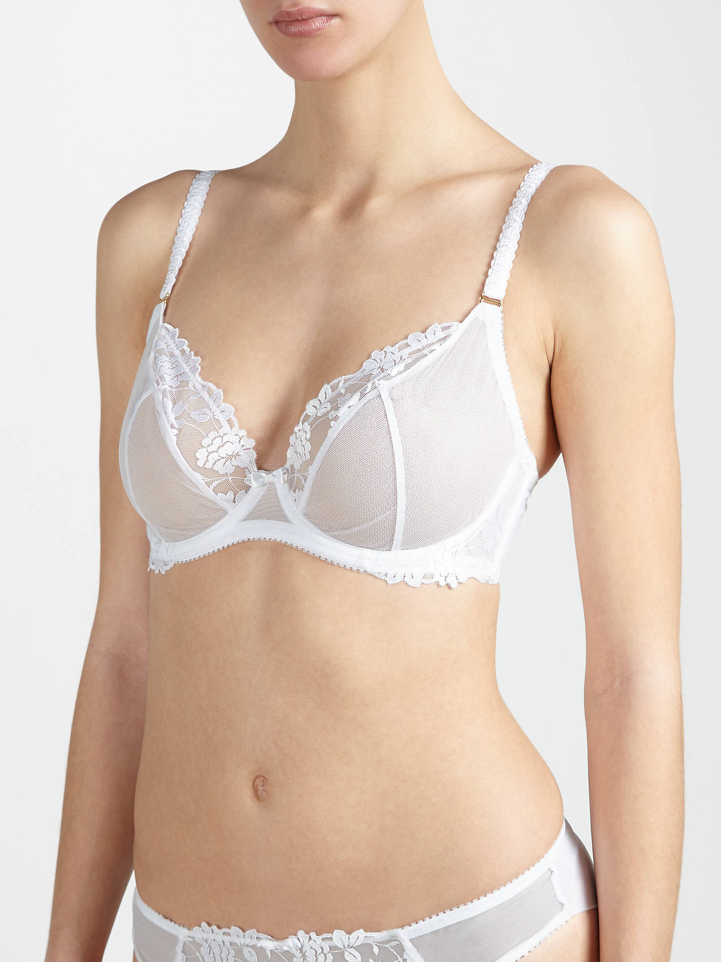Buy AND/OR Valentina Embroidered Plunge Bra, White, 30DD Online at johnlewis.com
