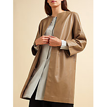 Buy Modern Rarity Leather Cut Edge Coat, Tan Online at johnlewis.com