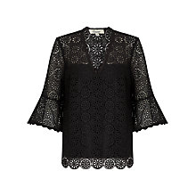 Buy Somerset by Alice Temperley Lace Fluted Sleeve Top, Black Online at johnlewis.com