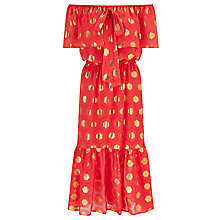 Buy Somerset by Alice Temperley Diamond Clipped Jacquard Dress, Coral Online at johnlewis.com