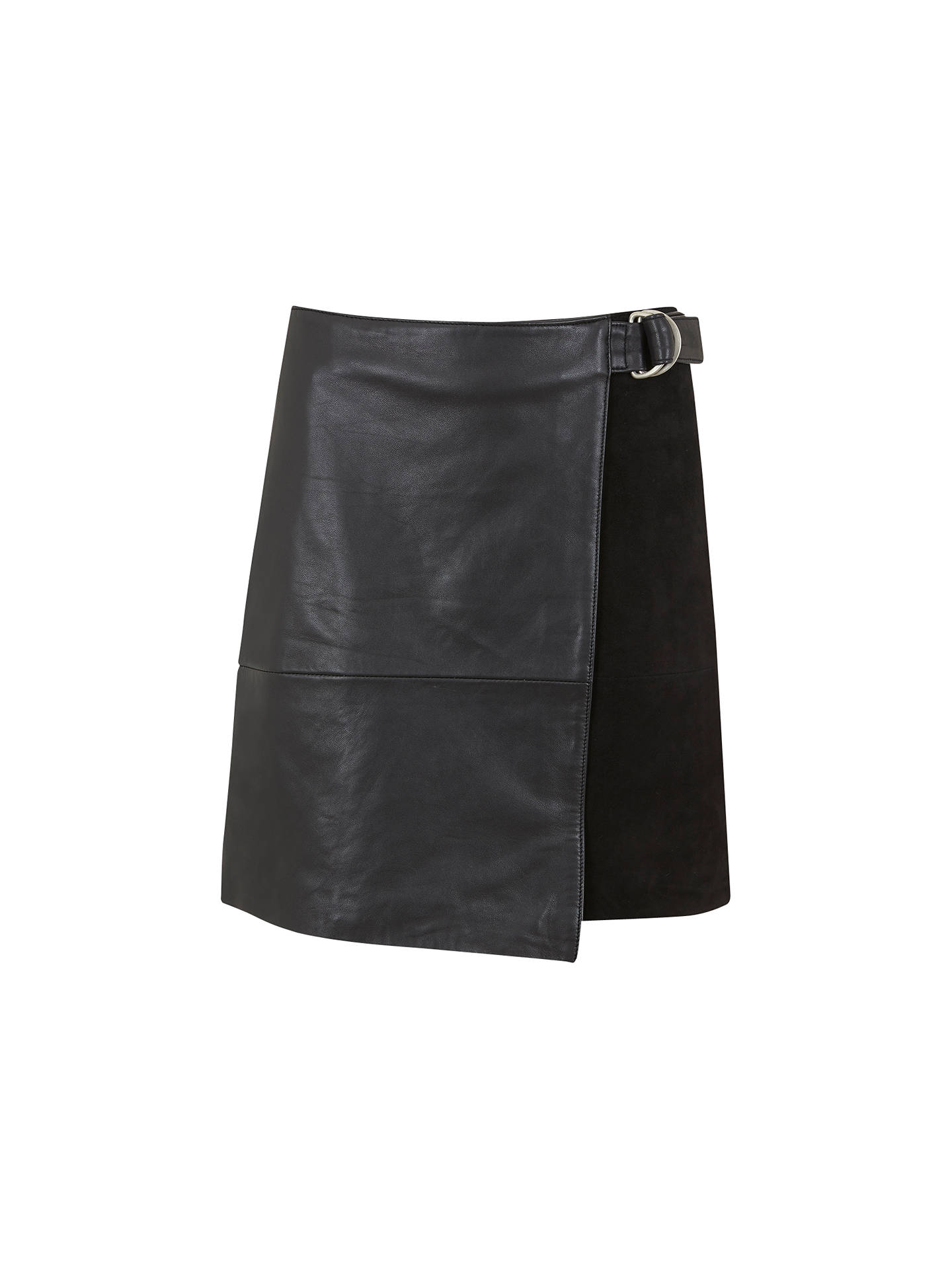 0a2848ee6a Buy Mint Velvet Leather & Suede Wrap Skirt, Black, 6 Online at johnlewis.