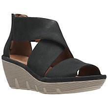 Buy Clarks Clarene Glamor Wedge Heeled Sandals, Black Online at johnlewis.com