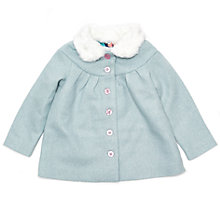 Buy Margherita Kids Girls' Faux Fur Collar Coat, Turquoise Online at johnlewis.com