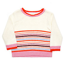 Buy Margherita Kids Girls' Contrast Tipping Jumper, Cream/Multi Online at johnlewis.com
