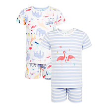 Buy John Lewis Children's Flamingo and Animal Print Short Pyjamas, Pack of 2, Lilac Online at johnlewis.com