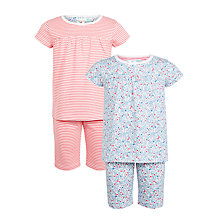 Buy John Lewis Children's Stripe and Floral Print Shortie Pyjamas, Pack of 2, Multi Online at johnlewis.com