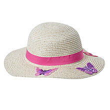 Buy John Lewis Children's Butterfly Placement Sun Hat, Neutral/Pink Online at johnlewis.com