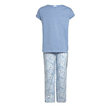 Buy John Lewis Children's Floral Print Pyjamas, Blue Online at johnlewis.com