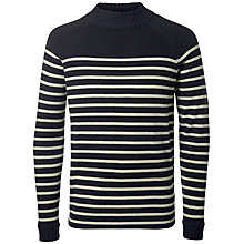 Buy Selected Homme Stripe High Neck Jumper, Dark Navy Online at johnlewis.com