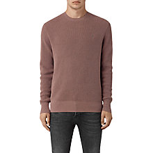 Buy AllSaints Trias Crew Neck Cotton Knitted Jumper, Fig Pink Online at johnlewis.com