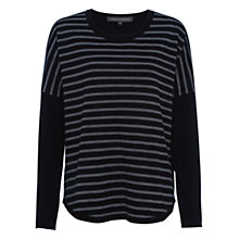 Buy French Connection Stripe Knits Scoop Hem Jumper, Black/Grey Stripe Online at johnlewis.com