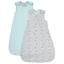 Buy John Lewis Baby Zebra Chevron Sleep Bag, Pack of 2, 1 Tog, Grey/Turquoise Online at johnlewis.com