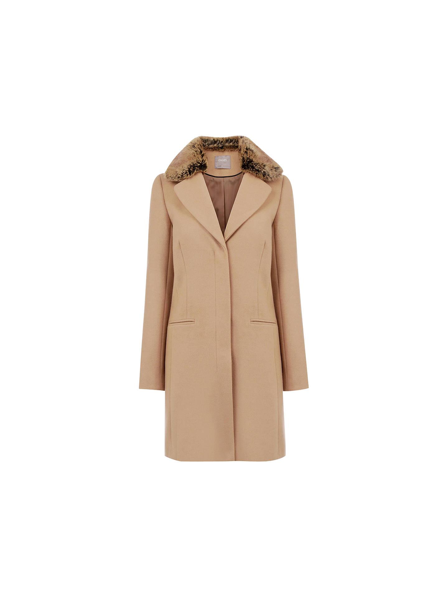 9cf921ba51fe Buy Oasis Felicity Formal Faux Fur Collar Coat, Camel, XS Online at  johnlewis.
