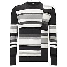 Buy Diesel K-Arnau Monochrome Stripe Jumper, Dark Grey Melange Online at johnlewis.com