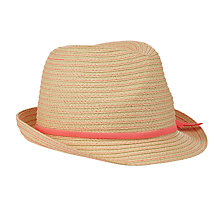 Buy John Lewis Girls' Neon Trilby Hat, Natural/Coral Online at johnlewis.com