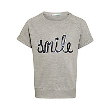 Buy John Lewis Girls' Short Sleeve Smile Sweatshirt, Grey Marl Online at johnlewis.com