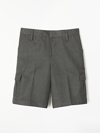 John Lewis & Partners Boys' Easy Care Adjustable Waist Cargo School Shorts, Grey