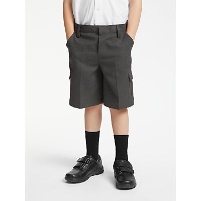 John Lewis & Partners Boys' Easy Care Adjustable Waist Cargo School Shorts, Grey