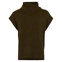 Buy Warehouse Split Neck Boucle Jumper, Khaki Online at johnlewis.com