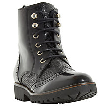 Buy Dune Parka Lace Up Calf Boots, Black Online at johnlewis.com