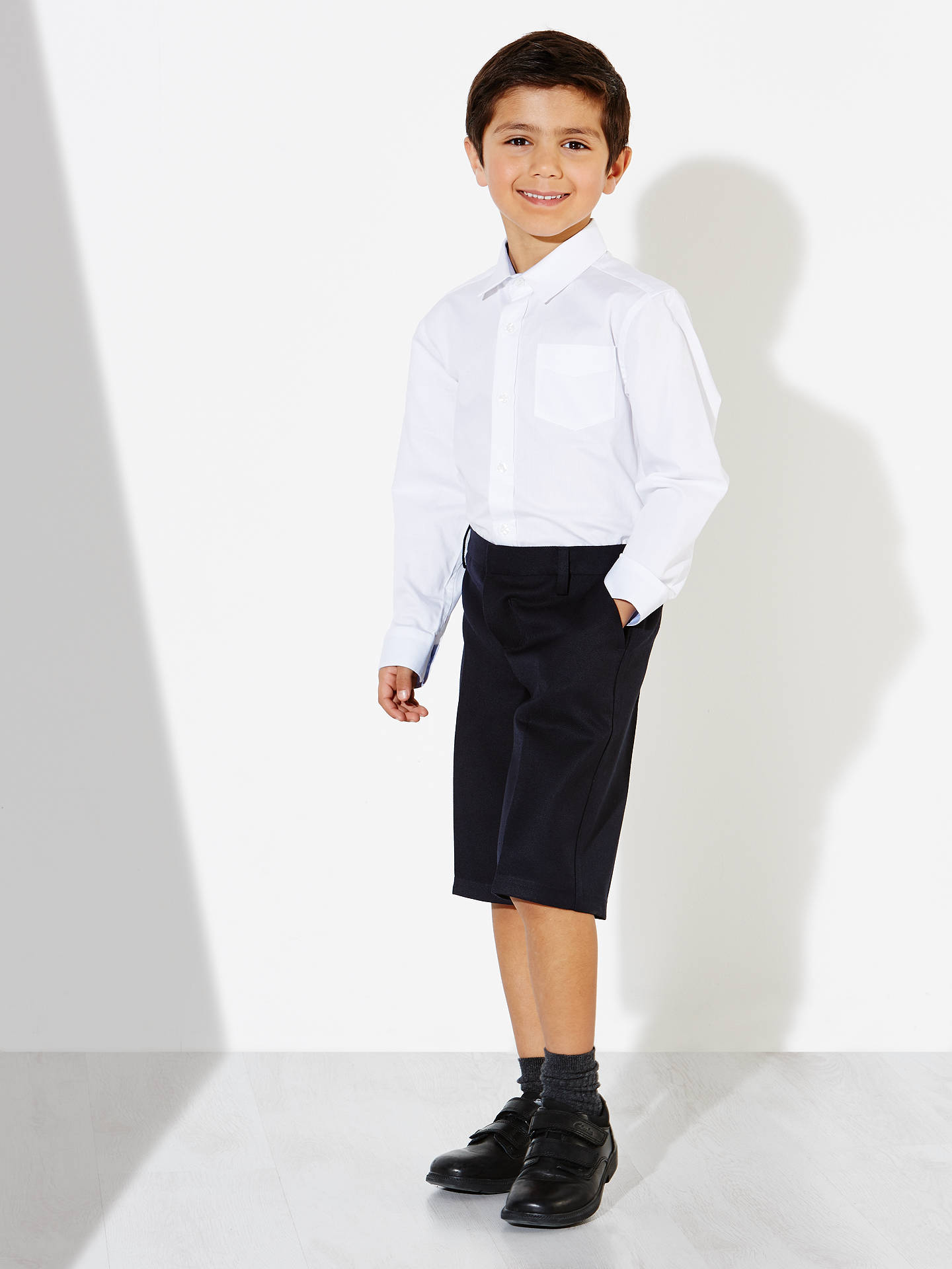 Buy John Lewis & Partners Boys' Bermuda Length School Shorts, Navy, 4 years Online at johnlewis.com