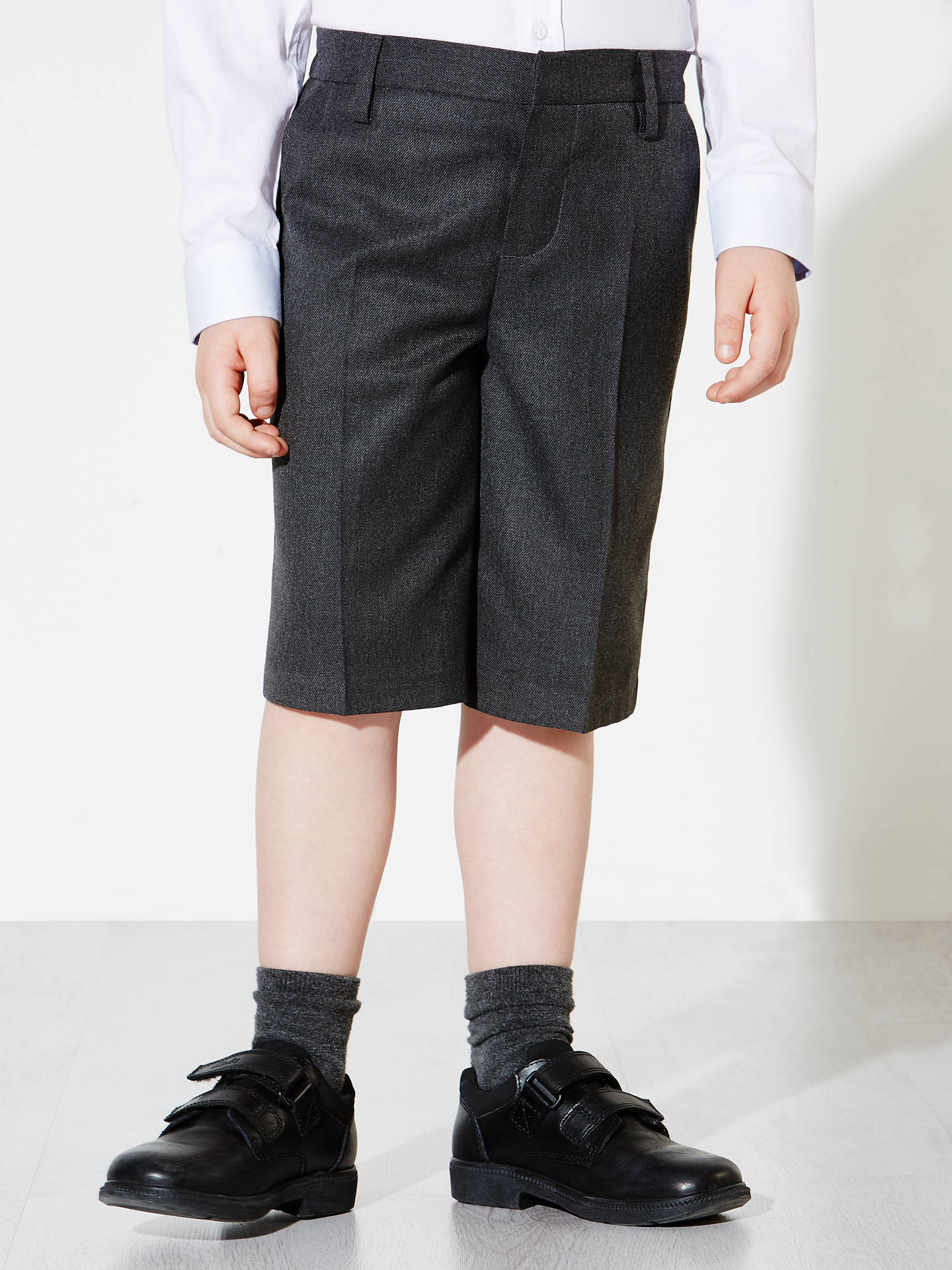Buy John Lewis & Partners Boys' Bermuda Length School Shorts, Grey, 11 years Online at johnlewis.com