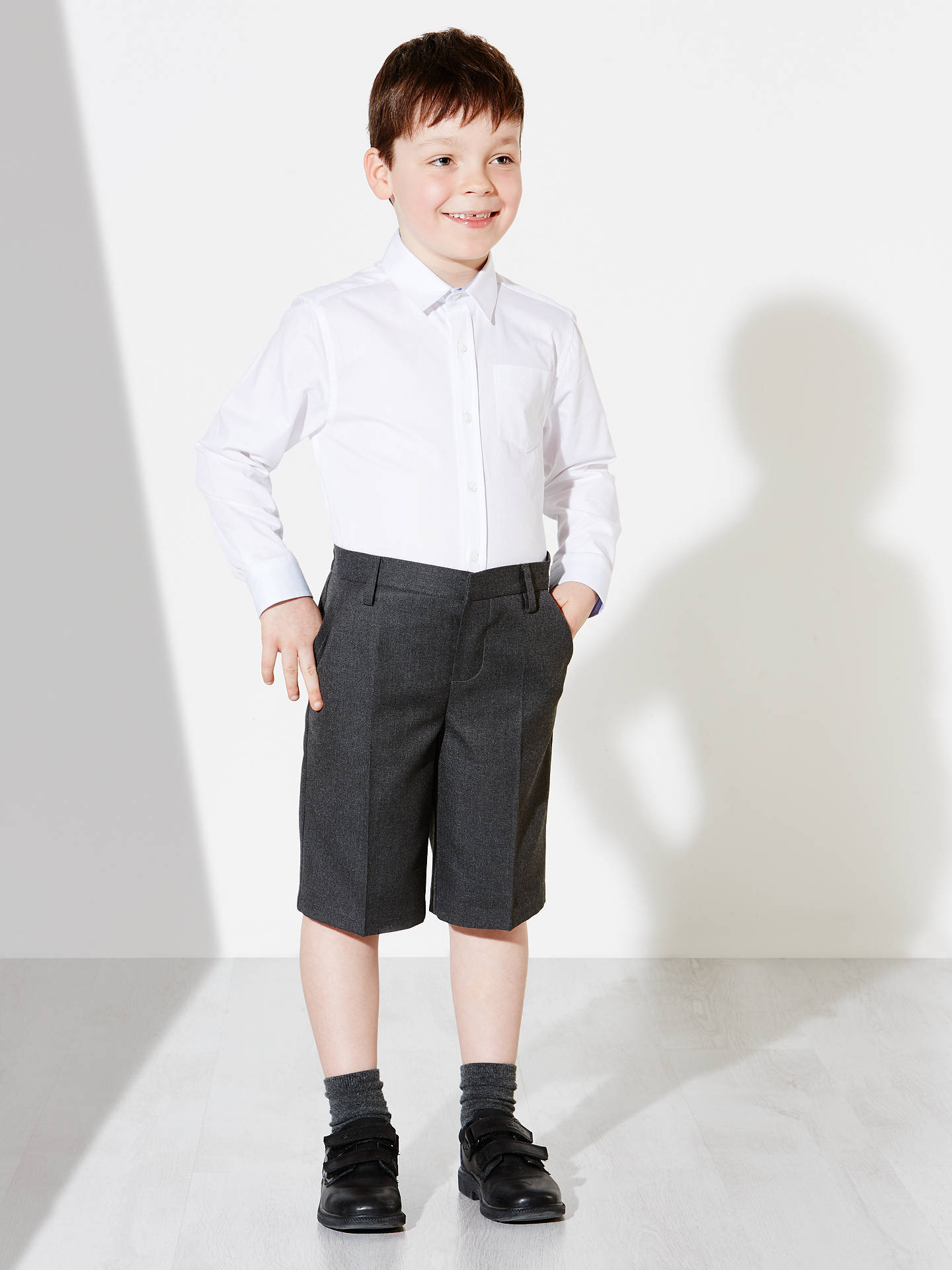Buy John Lewis & Partners Boys' Bermuda Length School Shorts, Grey, 12 years Online at johnlewis.com