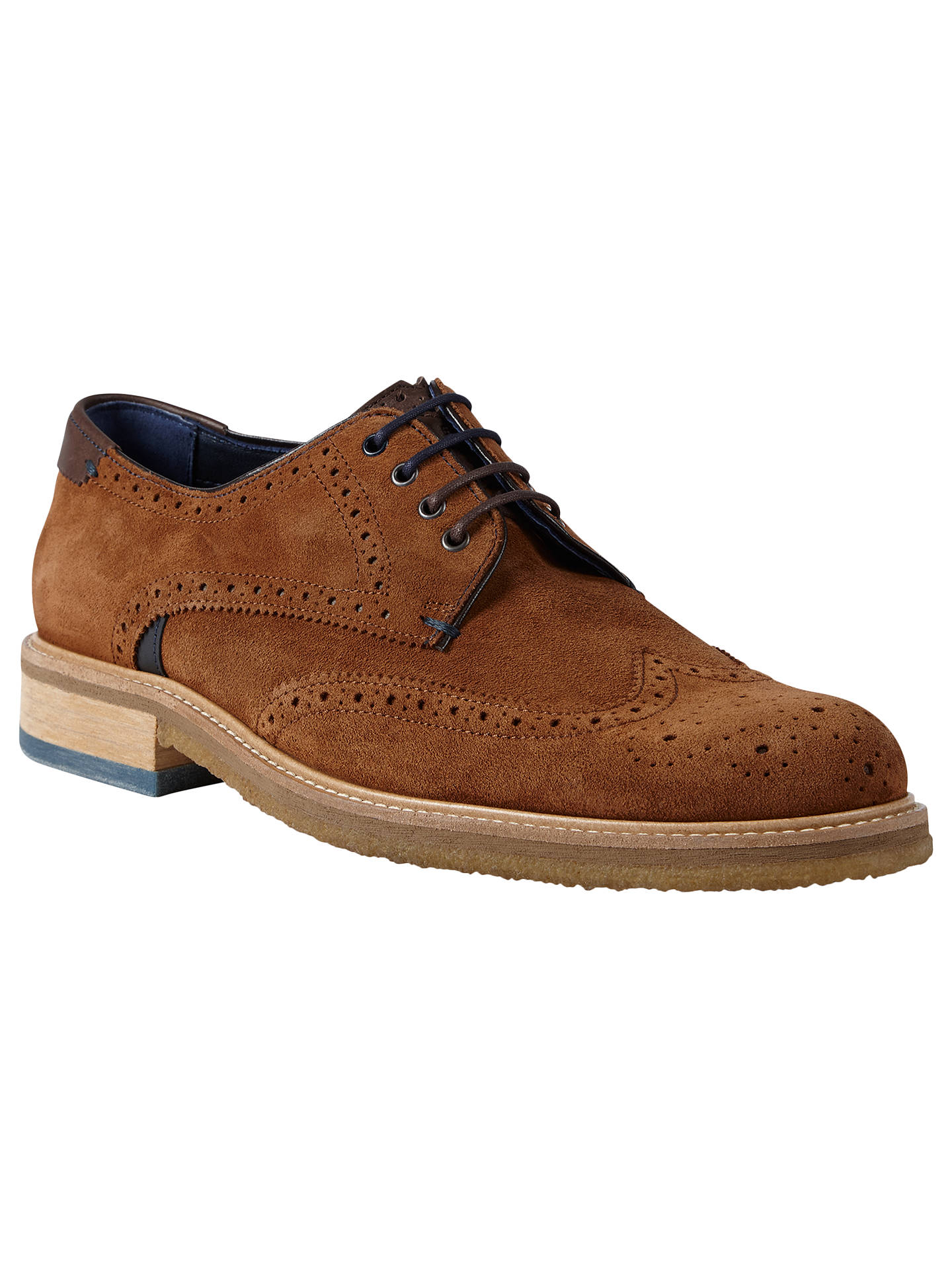 buying new half price best authentic Ted Baker Prycce Wing Derby Shoes, Light Tan at John Lewis & Partners