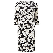 Buy John Lewis Floral Print Dress, Black/White Online at johnlewis.com