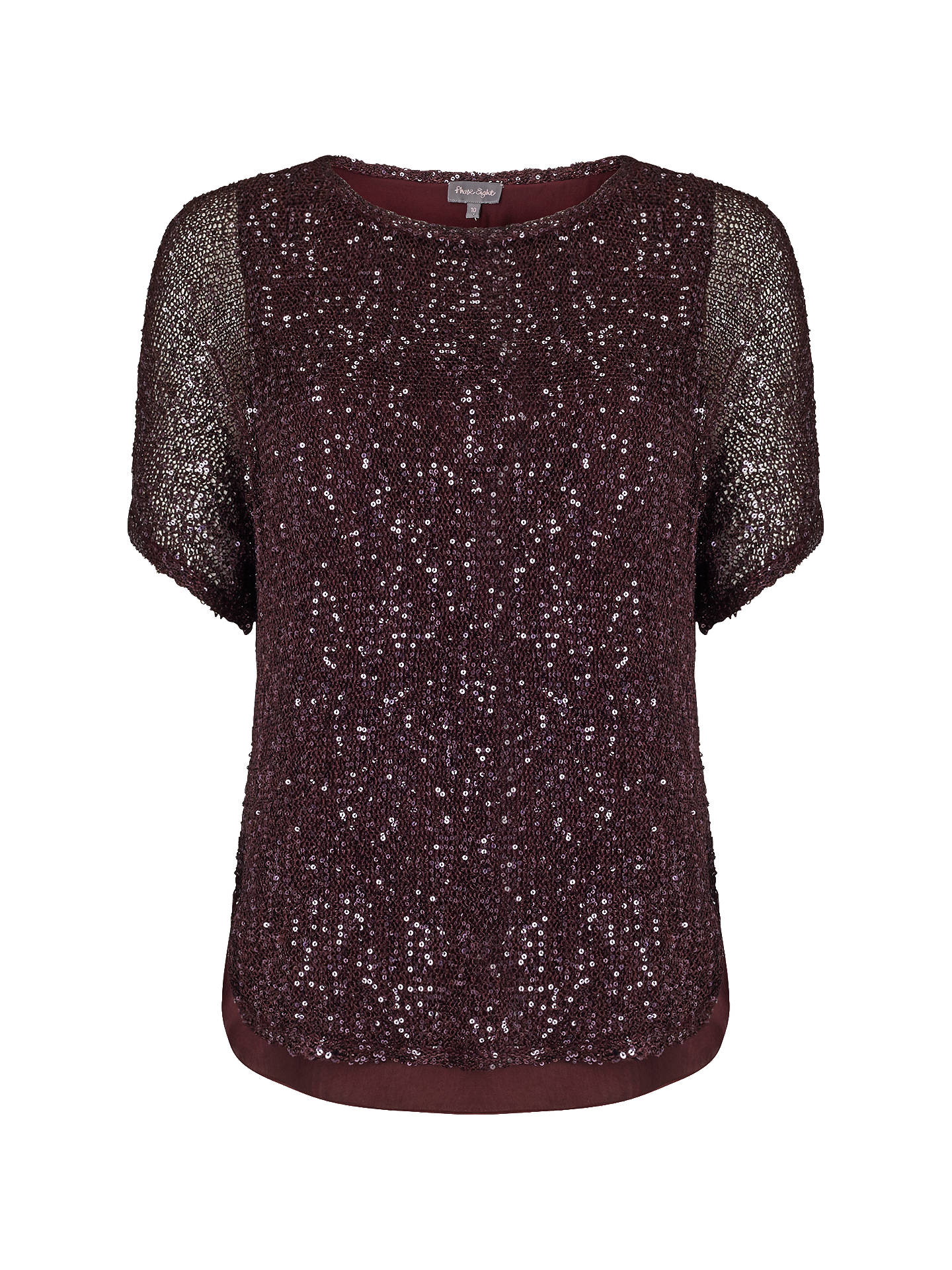 BuyPhase Eight Sequin Macey Knit Top, Port, XS Online at johnlewis.com