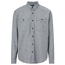 Buy JOHN LEWIS & Co. Macro Slub Cotton Workwear Shirt, Grey Online at johnlewis.com