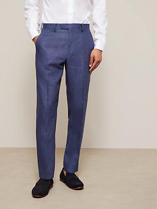 John Lewis & Partners Linen Regular Fit Suit Trousers, Indigo Blue