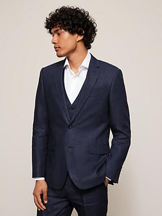 John Lewis & Partners Linen Regular Fit Suit Jacket, Navy