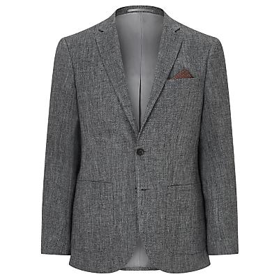 John Lewis Textured Pure Linen Tailored Blazer, Grey