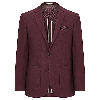 John Lewis Textured Pure Linen Tailored Blazer, Raspberry
