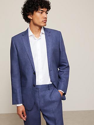 John Lewis & Partners Linen Regular Fit Suit Jacket, Indigo Blue