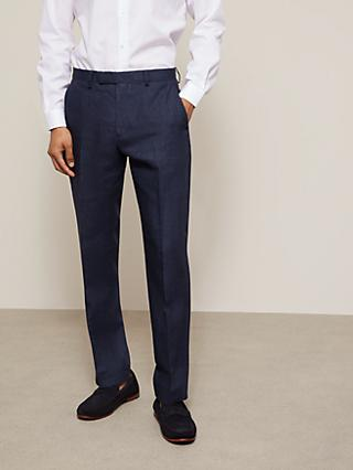John Lewis & Partners Linen Regular Fit Suit Trousers, Navy