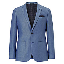 Buy John Lewis Pure Linen Tailored Blazer, Sky Online at johnlewis.com