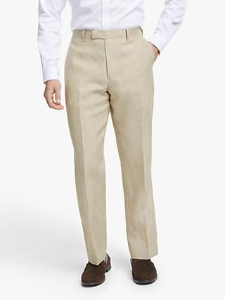 John Lewis & Partners Linen Regular Fit Suit Trousers, Stone