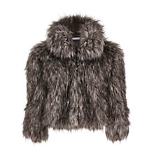 Buy Gina Bacconi Sparkle Metallic Faux Fur Jacket, Black/Silver Online at johnlewis.com