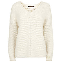 Buy Jaeger Chevron Ribbed Sweater, Ivory Online at johnlewis.com