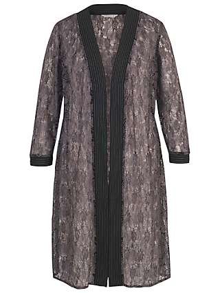 Chesca Floral Embroidered Lace Coat, Wild Heather
