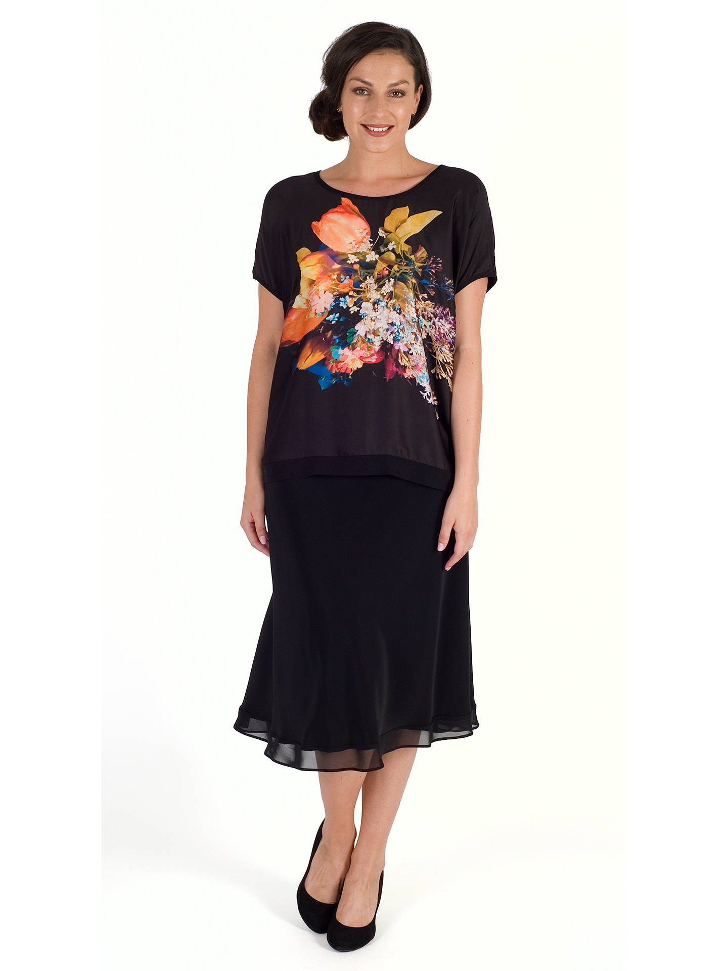 Buy Chesca Chiffon Trim Satin Skirt, Black, 12-14 Online at johnlewis.com