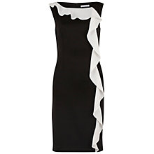 Buy Gina Bacconi Satin Back Crepe Frill Dress, Black/Ivory Online at johnlewis.com