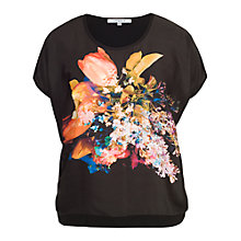 Buy Chesca Tulip Print Top, Black/Orange Online at johnlewis.com