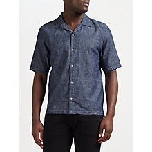 Buy Denham Camp Linen-Blend Shirt CLCH, Indigo Online at johnlewis.com