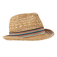 Buy John Lewis Boys' Textured Trilby Hat, Natural Online at johnlewis.com